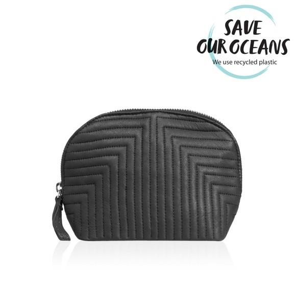 Gillian Jones - Makeup Purse Quilted Leather w. Metal Zipper in Black