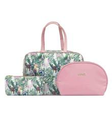 Gillian Jones - Beauty Secrets 3 Pcs Toiletry Bag Set - Bird & Floral Print