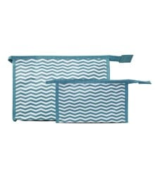 Studio - 2-piece Set w. Cosmetic Bag & Makeup Purse - Blue & White Stripes