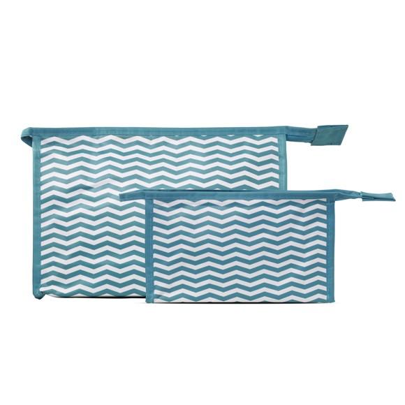 Studio - 2-piece Set w. Cosmetic Bag & Makeup Purse - Blue & White Stripes