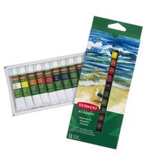 Derwent -  Academy Aquarelle maling, Sæt med 12 x 12ml