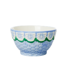 Rice - Ceramic Bowl with Embossed Flower Design - Blue