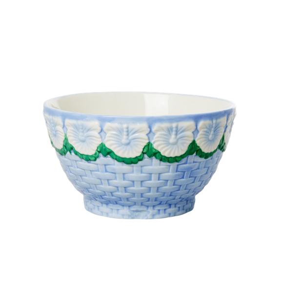 Rice - Keramik Skål m. Blomster Design - Blue