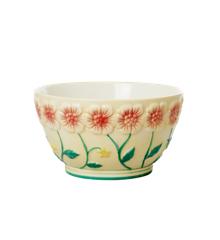 Rice - Keramik Skål m. Blomster Design - Creme