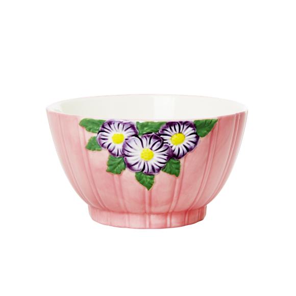 Rice - Keramik Skål m. Blomster Design - Pink