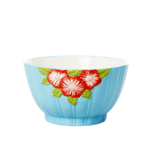 Rice - Ceramic Bowl with Embossed Flower Design - Mint
