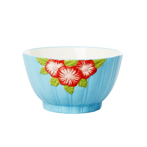 Rice - Keramik Skål m. Blomster Design - Mint