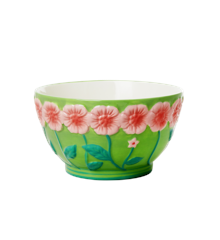 Rice - Ceramic Bowl with Embossed Flower Design - Sage Green