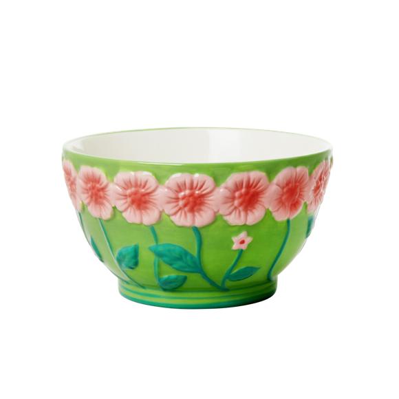 Rice - Ceramic Bowl with Embossed Flower Design - Sage Green