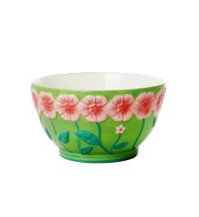 Rice - Keramik Skål m. Blomster Design - Saga Grøn