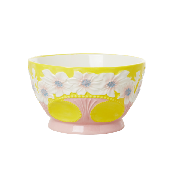 Rice - Ceramic Bowl with Embossed Flower Design - Yellow