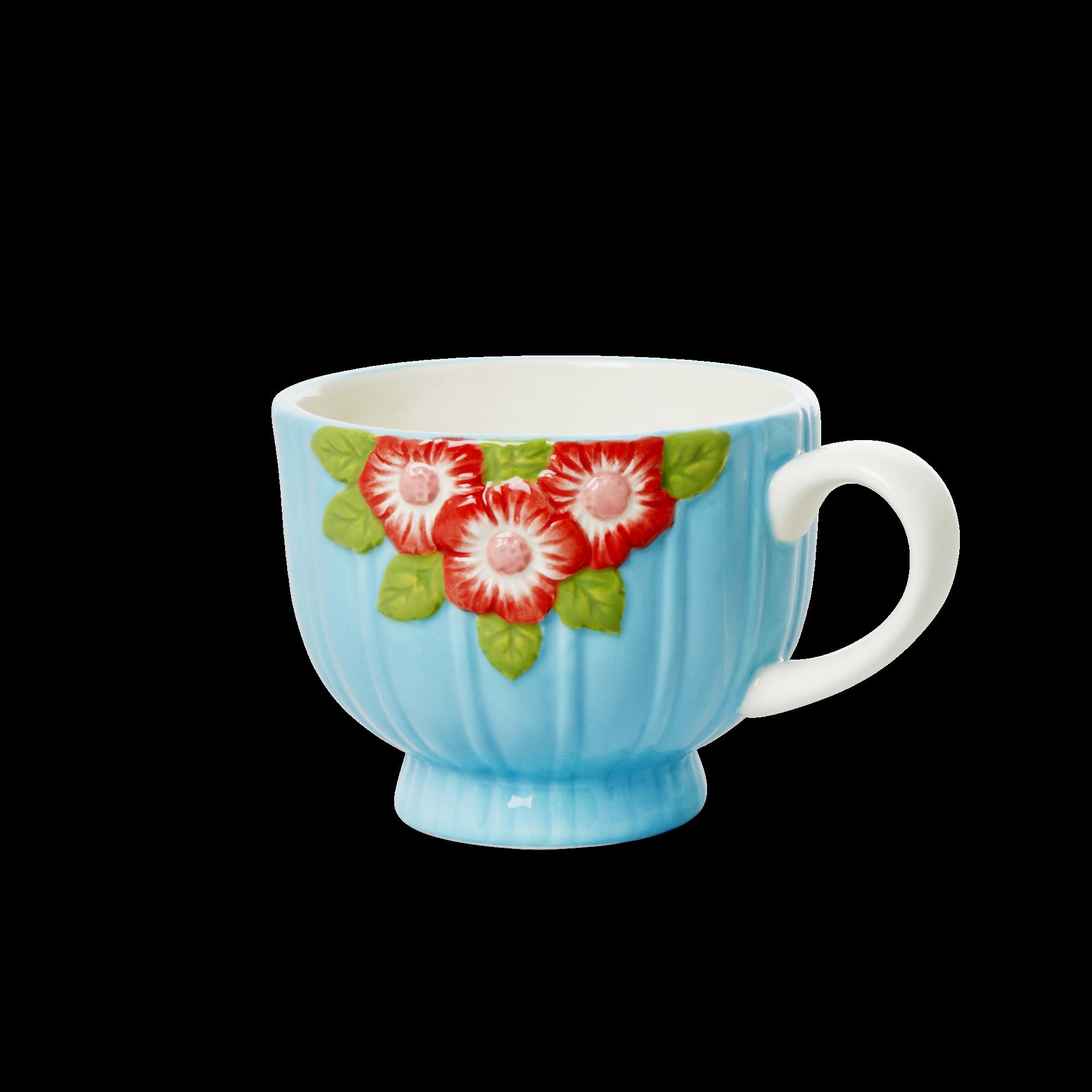 Rice - Ceramic Mug -  Embossed Purple Flower Design