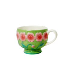 Rice - Ceramic Mug - Embossed Pink &  Sage Green Flower Design