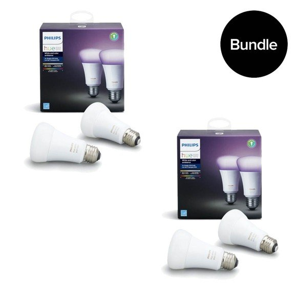 Philips Hue - E27 2x 2 Pack -  White & Color Ambiance - Bluetooth - Bundle