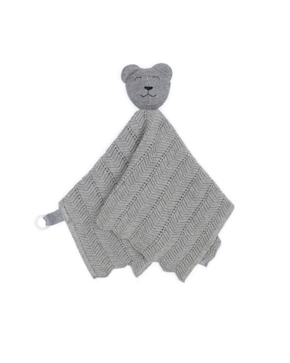 Smallstuff - Fishbone Cuddle Cloth - Grey Teddy