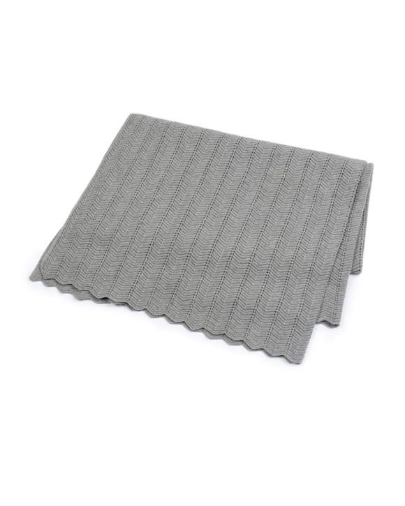 Smallstuff - Fishbone Baby Blanket - Grey Melange
