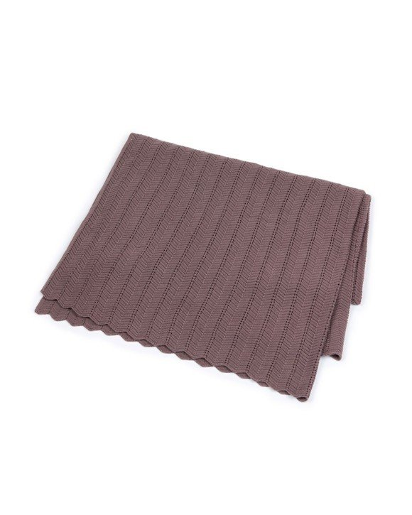 Smallstuff - Fishbone Baby Blanket - Dark Rose