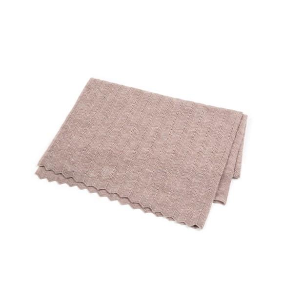 Smallstuff - Baby Blanket Fishbone Merino Wool - Soft Rose