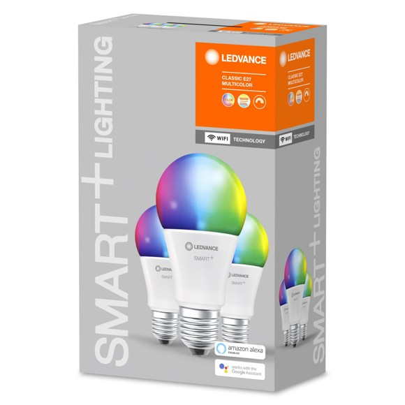 Ledvance - Smart+ Standard 60W/RGBW frosted E27 WiFi 3 pack