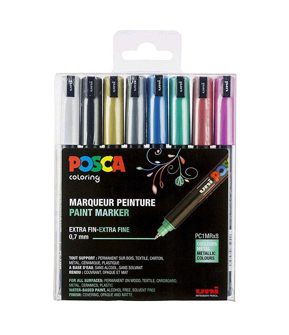 Posca - PC1MR - Extra Fine Tip Pen - Metallic Colors, 8 pc