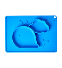 Rice - Silicone Baby Placemat with Plate in Whale Shape - Blue