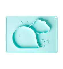 Rice - Silicone Baby Placemat with Plate in Whale Shape - Mint
