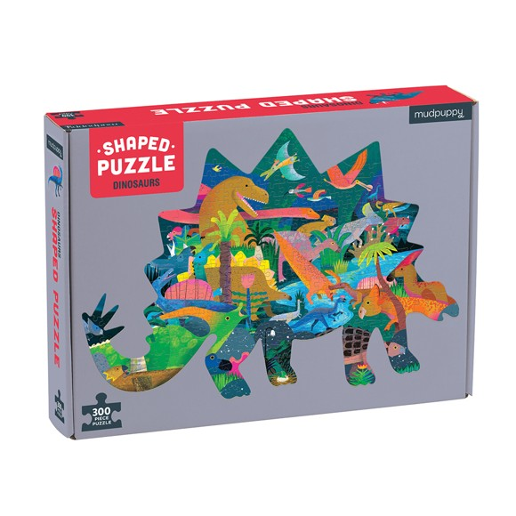 Mudpuppy - Puzzle 300 pc - Dinosaurs Shaped Scene (057280)