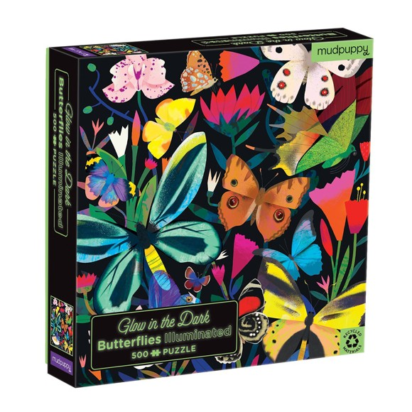 Mudpuppy - Puzzle  500 pc - Butterflies Illuminated - Glow in the Dark (066640)