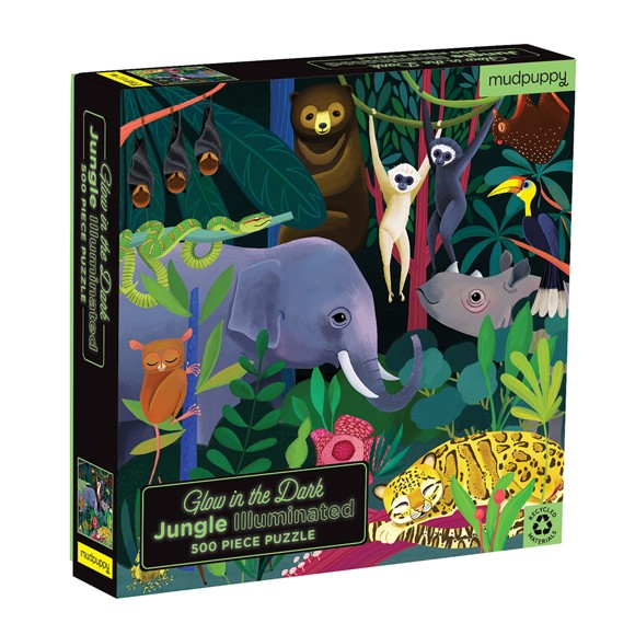 Mudpuppy - Puzzle 500 pcs - Jungle Illuminated Glow in the Dark (060761)