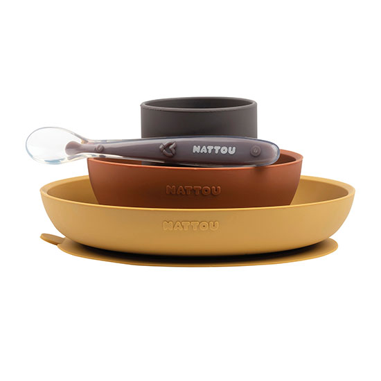 Nattou - Dinner Set 4 Pcs Soft Silicone - Mustard / Terracotta