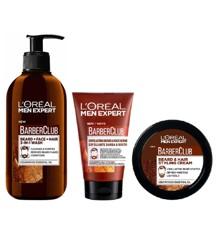 L'Oréal - Men Expert Barber Club Beard and Face Wash 200 ml + Styling Creme 50 ml + Exfoliating Beard & Face Scrub 100 ml