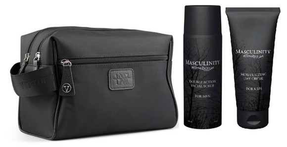 Vittorio - 2 Room Men Washbag + Beauté Pacifique Masculinity  Day Creme for Men 100 ml & Facial Scrub 100 ml