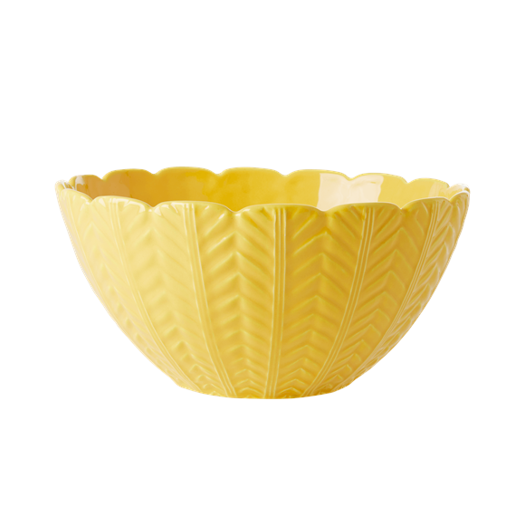 Rice - Ceramic Salad Bowl w. Embossed Details - Yellow