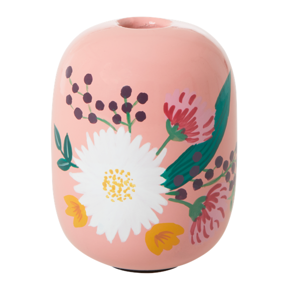 Rice - Metal Candleholder Large - Apricot w. Handpainted Flowers
