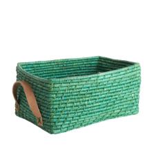 Rice - Raffia Rectangular Basket w. Leather Handle - Green