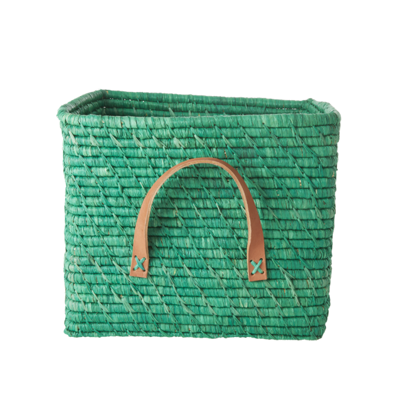 Rice - Small Square Raffia Basket with Leather Handles - Green