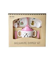 Rice - Melamine Baby Dinner Set Giftbox - Pink Party Animal Print