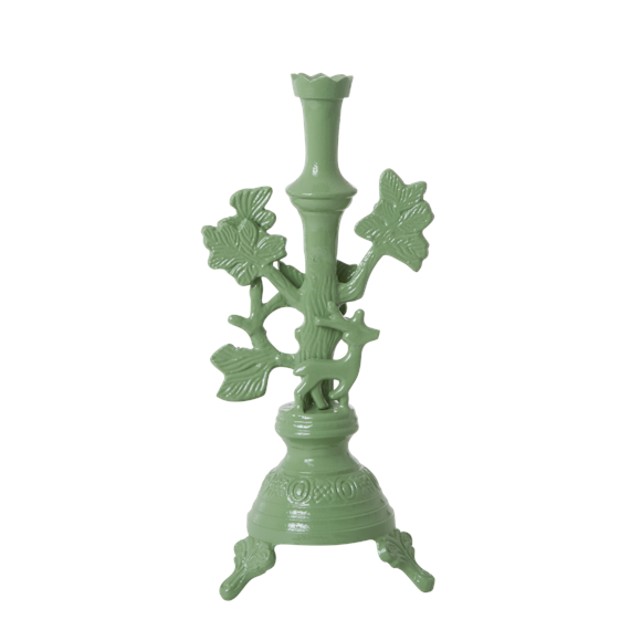 Rice - Metal Candle Holder w. Deer Large - Dusty Green
