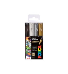 Posca - PC1MC - Extra Fine Tip Pen - Gold, Silver, Black and White, 4 pc
