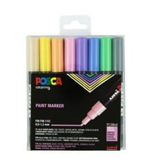 Posca - PC3M - Fine Tip Pen - Pastel, 8 pc