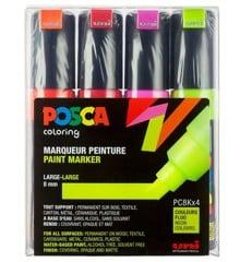 Posca - PC8K - Broad Tip Pen - Neon colors, 4 pc