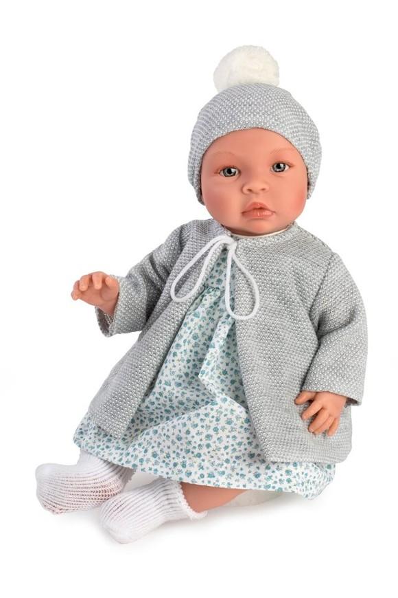 Asi dolls - Leonora baby doll in blue flowerprint dress and grey jacket