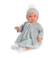 Asi - Leonora babydukke i kjole med blå blomsterprint