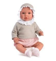 Asi - Leonora babydukke i pink bomsterprint og beige sweater