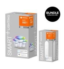 Ledvance - Smart+ Par16 RGBW frosted GU10 WiFi 3 pack + Dimmer Remote Smart+ - Bundle