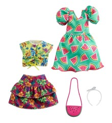 Barbie - Fashion 2-Pakke - Kjole med vandmelon-print (GRC85)