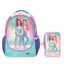 Top Model - School Backpack + Tripple Pencil Case - Miami