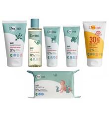 Derma - Eco Baby Shampoo/Bad 150 ml + Oile 150 ml + Creme 100 ml + Salve 100 ml + Sollotion SPF 30 150 ml + Vådservietter 64 stk