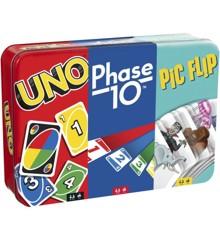 Mattel Games - UNO, Phase 10  and Pic Flip  Bundle Tin (GWP96)
