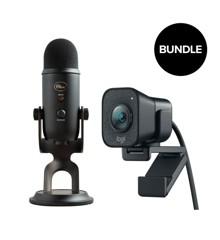 Logitech - STREAMCAM Graphite + Blue - Yeti Blackout  Microphone  - Bundle